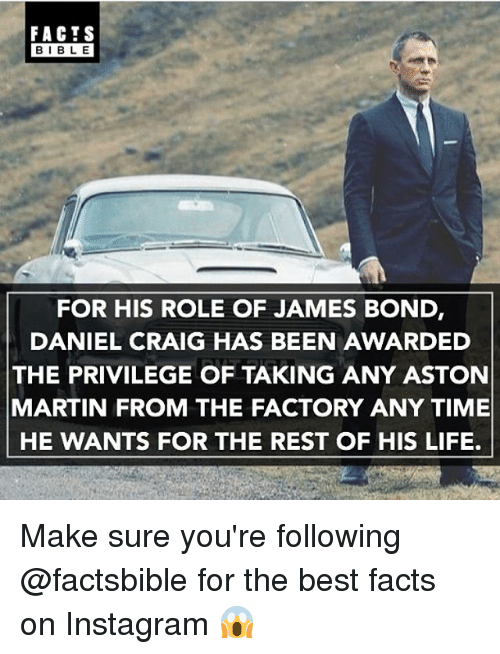Facts Bible For His Role Of James Bond Daniel Craig Has Been Awarded