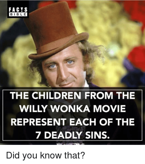 Children, Facts, and Memes: FACTS  BIBLE  THE CHILDREN FROM THE  WILLY WONKA MOVIE  REPRESENT EACH OF THE  7 DEADLY SINS. Did you know that?