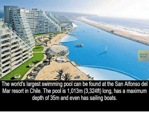 Worlds Largest Outdoor Pool At Chiles San Alfonso Del Mar Resort >> Facts Book The World S Largest Swimming Pool Can Be Found At The San