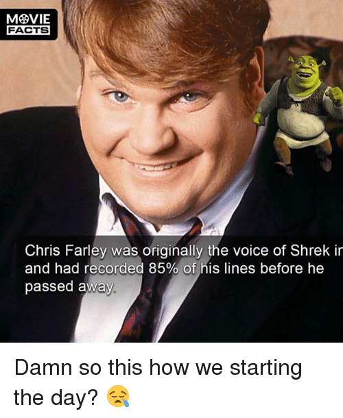 Facts, Memes, and Shrek: FACTS  Chris Farley was originally the voice of Shrek ir  and had recorded 85% of his lines before he  passed away Damn so this how we starting the day? 😪