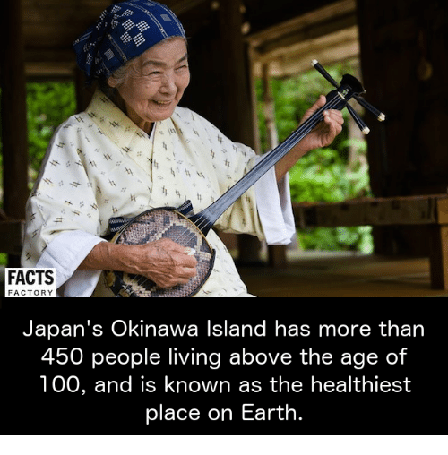 Memes, 🤖, and Okinawa: FACTS  FACTORY  Japan's Okinawa Island has more than  450  people living above the age of  100, and is known as the healthiest  place on Earth