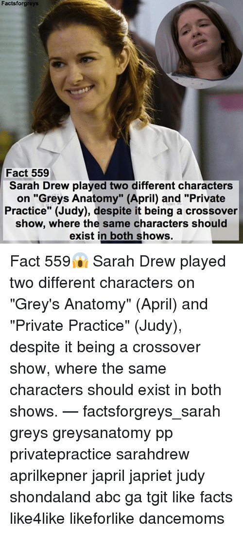 Facts Forgreys Fact 559 Sarah Drew Played Two Different Characters ...