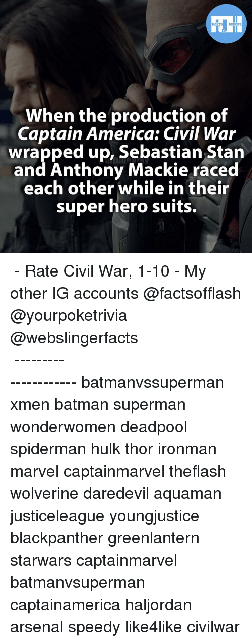 Captain America: Civil War, Memes, and Wolverine: FACTS HEROES  When the production of  Captain America: Civil War  wrapped up, Sebastian Stan  and Anthony Mackie raced  each other while in their  super hero suits. ▲▲ - Rate Civil War, 1-10 - My other IG accounts @factsofflash @yourpoketrivia @webslingerfacts ⠀⠀⠀⠀⠀⠀⠀⠀⠀⠀⠀⠀⠀⠀⠀⠀⠀⠀⠀⠀⠀⠀⠀⠀⠀⠀⠀⠀⠀⠀⠀⠀⠀⠀⠀⠀ ⠀⠀--------------------- batmanvssuperman xmen batman superman wonderwomen deadpool spiderman hulk thor ironman marvel captainmarvel theflash wolverine daredevil aquaman justiceleague youngjustice blackpanther greenlantern starwars captainmarvel batmanvsuperman captainamerica haljordan arsenal speedy like4like civilwar