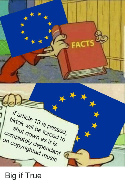 Facts, Music, and True: FACTS  if article 13 is passed  tiktok will be forced to  shut down as it is  completely dependant  on copyrighted music  9 Big if True