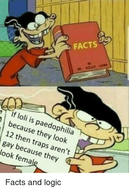 Anime, Facts, and Logic: FACTS  If loli is paedophilia  because they look  12 then traps aren't  gay because they  Jook femal