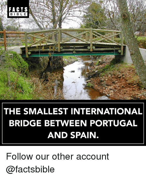Facts, Memes, and Portugal: FACTS  LE  THE SMALLEST INTERNATIONAL  BRIDGE BETWEEN PORTUGAL  AND SPAIN Follow our other account @factsbible