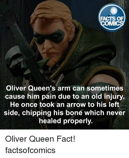 Facts, Memes, and Queen: FACTS OF  MI  Oliver Queen's arm can sometimes  cause him pain due to an old injury.  He once took an arrow to his left  side, chipping his bone which never  healed properly. Oliver Queen Fact! factsofcomics
