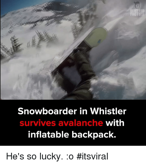 Memes, Backpacking, and 🤖: FACTS  Snowboarder in Whistler  with  survives avalanche  inflatable backpack. He's so lucky. :o #itsviral