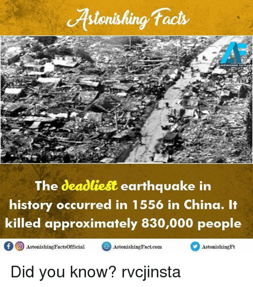 an overview of the deadliest earthquake in chinas history the earthquake of 1556 The 1556 shaanxi earthquake or jiajing earthquake was a catastrophic earthquake and is also the deadliest earthquake on record, killing approximately 830,000 people in china.