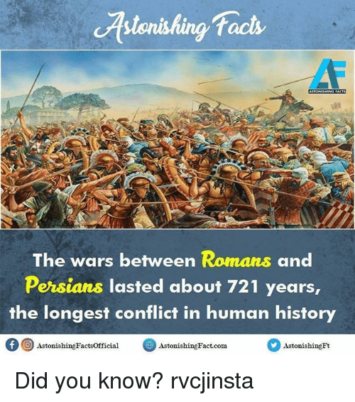 Memes, 🤖, and Human: facts  The wars between Romans and  Persians lasted about 721 years,  the longest conflict in human history  f 9 AstonishingFactsofficial  Astonishing Fact com  Astonishing Ft Did you know? rvcjinsta