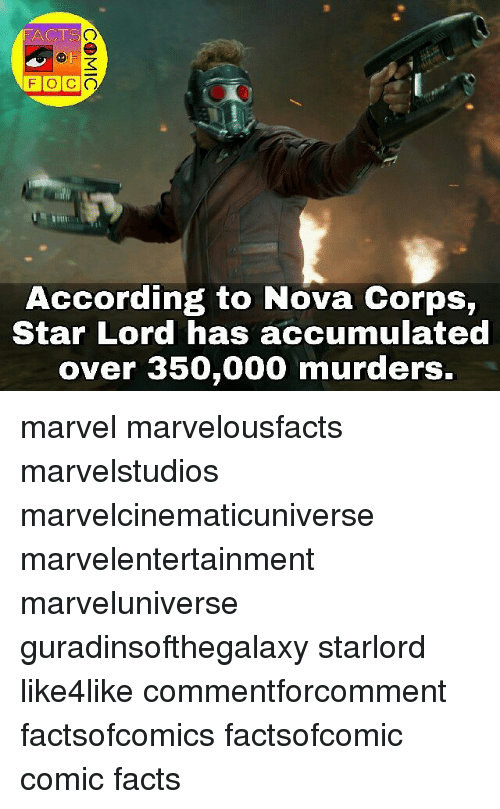 Facts, Memes, and Marvel: FACTS  TSO  According to Nova Corps,  Star Lord has accumulated  over 350,000 murders. marvel marvelousfacts marvelstudios marvelcinematicuniverse marvelentertainment marveluniverse guradinsofthegalaxy starlord like4like commentforcomment factsofcomics factsofcomic comic facts