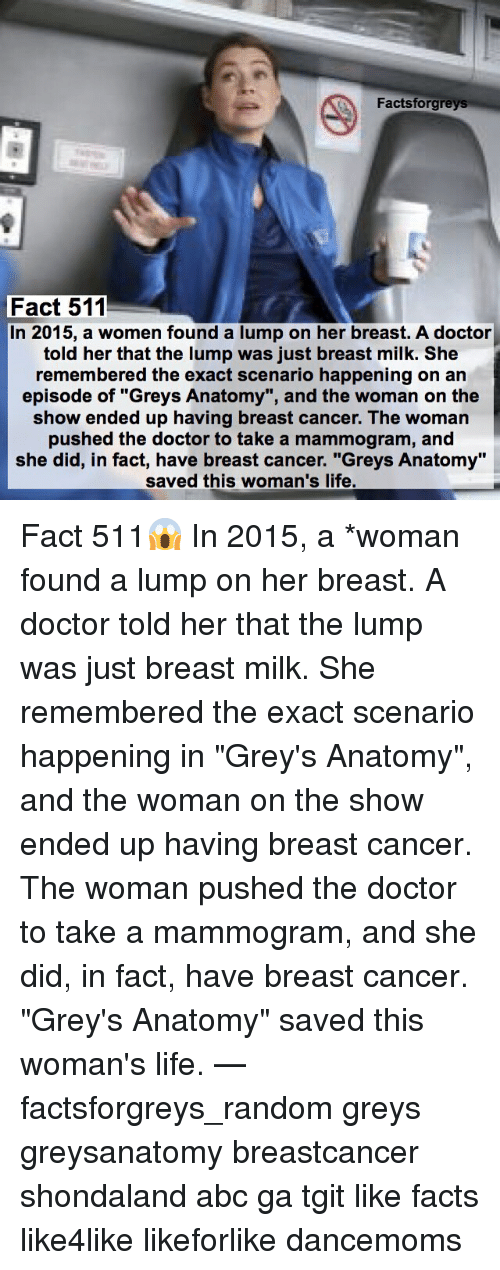"""Abc, Memes, and Grey's Anatomy: Factsforgreys  Fact 511  In 2015, a women found a lump on her breast. A doctor  told her that the lump was just breast milk. She  remembered the exact scenario happening on an  episode of """"Greys Anatomy"""", and the woman on the  show ended up having breast cancer. The woman  pushed the doctor to take a mammogram, and  she did, in fact, have breast cancer. """"Greys Anatomy""""  saved this woman's life. Fact 511😱 In 2015, a *woman found a lump on her breast. A doctor told her that the lump was just breast milk. She remembered the exact scenario happening in """"Grey's Anatomy"""", and the woman on the show ended up having breast cancer. The woman pushed the doctor to take a mammogram, and she did, in fact, have breast cancer. """"Grey's Anatomy"""" saved this woman's life. — factsforgreys_random greys greysanatomy breastcancer shondaland abc ga tgit like facts like4like likeforlike dancemoms"""