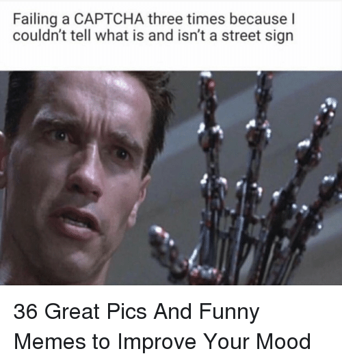 Funny, Memes, and Mood: Failing a CAPTCHA three times because l  couldn't tell what is and isn't a street sign 36 Great Pics And Funny Memes to Improve Your Mood