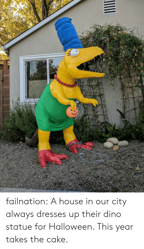 Halloween, Tumblr, and Blog: failnation:  A house in our city always dresses up their dino statue for Halloween. This year takes the cake.