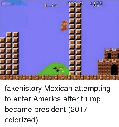 America, Tumblr, and Blog: fakehistory:Mexican attempting to enter America after trump became president (2017, colorized)