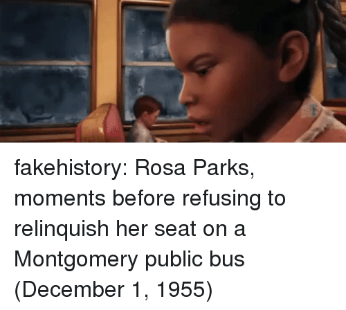 Rosa Parks, Tumblr, and Blog: fakehistory:  Rosa Parks, moments before refusing to relinquish her seat on a Montgomery public bus (December 1, 1955)