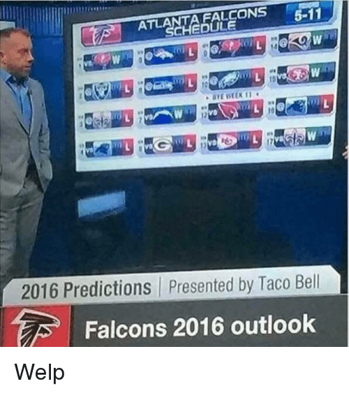 Nfl, Taco Bell, and Falcons: FALCONS  5-11  ATLA  CHEDULE  2016 Predictions presented by Taco Bell  Falcons 2016 outlook Welp