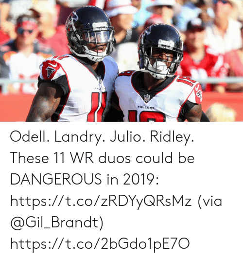 Memes, 🤖, and Via: FALEDNS Odell. Landry. Julio. Ridley.  These 11 WR duos could be DANGEROUS in 2019: https://t.co/zRDYyQRsMz (via @Gil_Brandt) https://t.co/2bGdo1pE7O