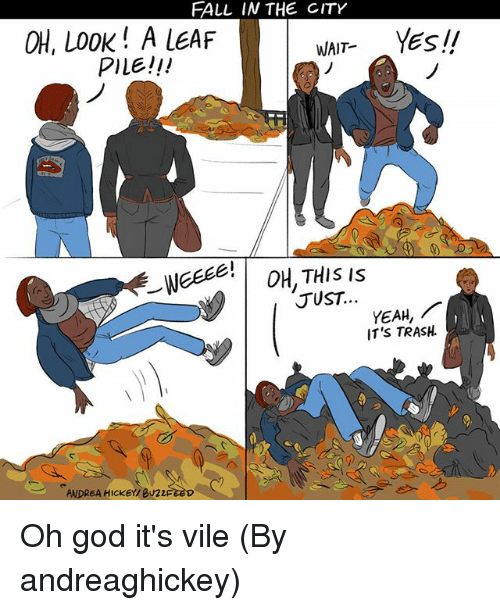 Fall, God, and Memes: FALL IN THE CITY  OH, LOOK! A LEAF  PILE!!!  WAIT YEsII  1  (r  JUST  YEAH,  IT'S TRASH.  ANDREA HICKEY/ BU22 Oh god it's vile (By andreaghickey)