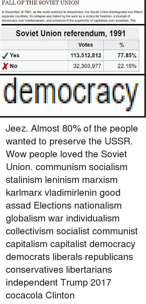 an analysis of the fall of communism in the soviet union After overthrowing the centuries-old romanov monarchy, russia emerged from a civil war in 1921 as the newly formed soviet union the world's first marxist-communist state would become one of the biggest and most powerful nations in the world, occupying nearly one-sixth of earth's land surface, before its fall and ultimate dissolution in 1991.