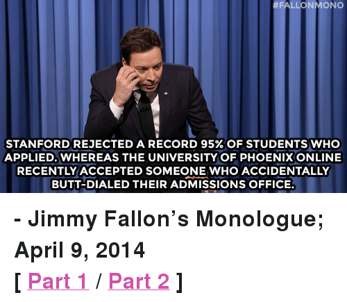 FALLONMONO STANFORD REJECTED a RECORD 95% OF STUDENTS VVHO