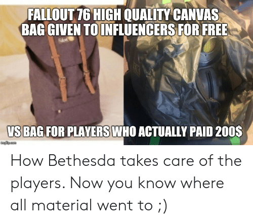 FALLOUT 76 HIGH QUALITY CANVAS BAG GIVEN TOINFLUENCERS FOR