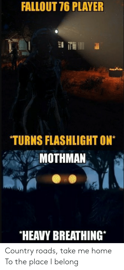 Fallout, Flashlight, and Home: FALLOUT 76 PLAYER  TURNS FLASHLIGHT ON*  MOTHMAN  HEAVY BREATHING* Country roads, take me home To the place I belong