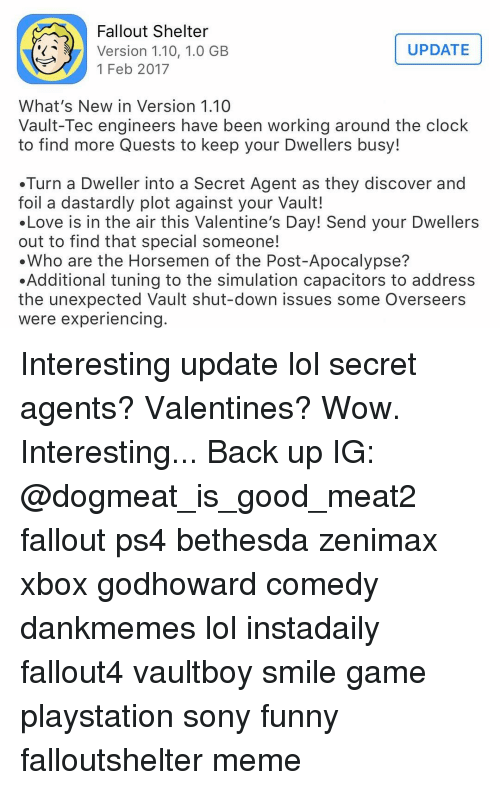 Memes, Quest, and Dastardly: Fallout Shelter UPDATE Version 1.10, 1.0 GB 1