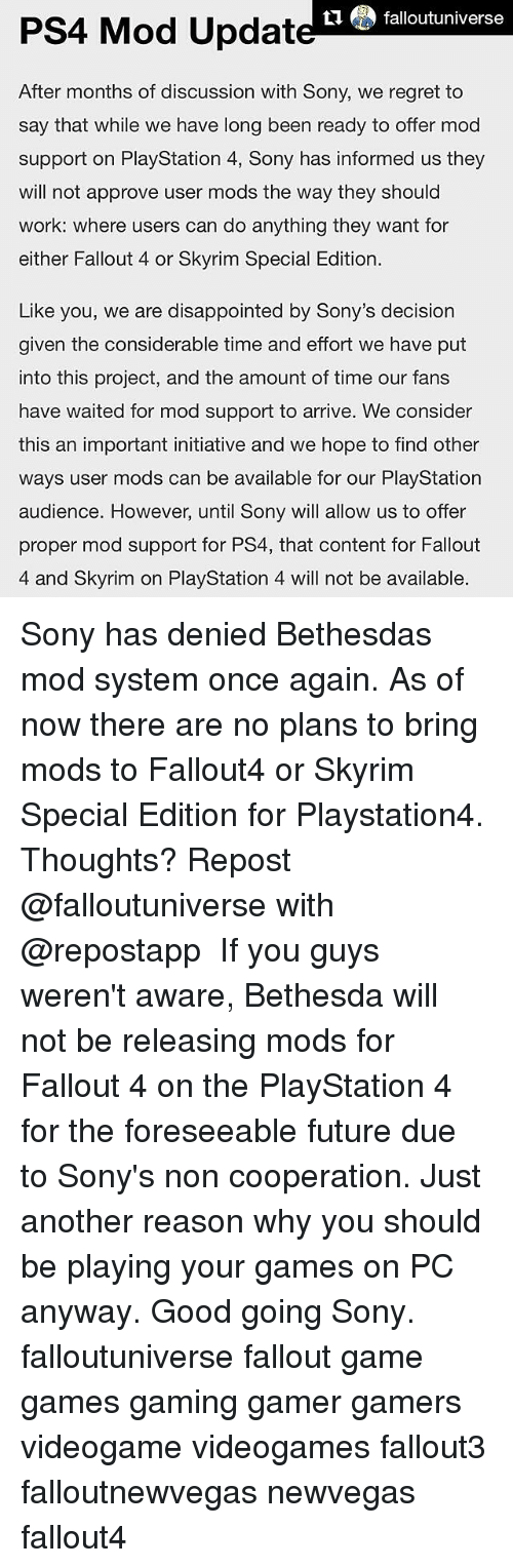 Falloutuniverse PS4 Mod Update After Months of Discussion With Sony