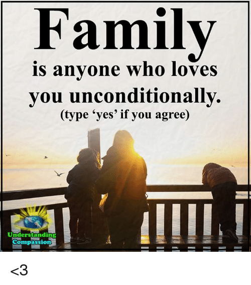 Memes, Compassion, and Understanding: Familv  is anvone who loves  you unconditionally.  (type 'yes' if you agree)  Understanding  Compassion <3