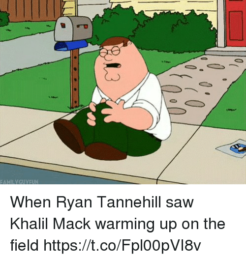 Nfl, Saw, and Ryan: FAMILYGUYEUN When Ryan Tannehill saw Khalil Mack warming up on the field https://t.co/Fpl00pVI8v