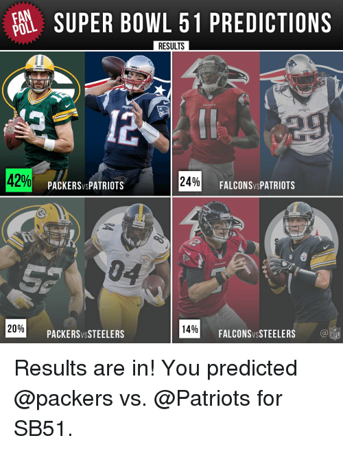 fan super bowl 51 predictions poll results patepts 42 24 12355961 25 best patriots vs falcons memes sb51 memes, the joke memes