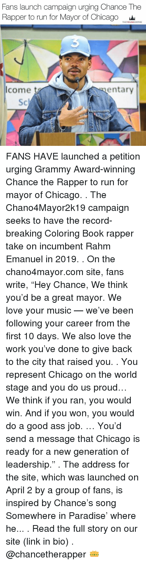 The coloring book grammy - Ass Chance The Rapper And Chicago Fans Launch Campaign Urging Chance The Rapper