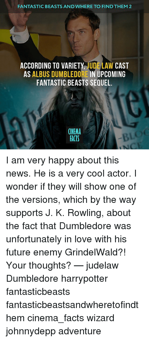 Dumbledore, Facts, and Future: FANTASTIC BEASTS AND WHERE TO FIND THEM 2  ACCORDING TO VARIETY  UDE LAW CAST  AS  ALBUS DUMBLEDORE IN UPCOMING  FANTASTIC BEASTS SEQUEL.  CINEMA  FACTS I am very happy about this news. He is a very cool actor. I wonder if they will show one of the versions, which by the way supports J. K. Rowling, about the fact that Dumbledore was unfortunately in love with his future enemy GrindelWald?! Your thoughts? — judelaw Dumbledore harrypotter fantasticbeasts fantasticbeastsandwheretofindthem cinema_facts wizard johnnydepp adventure