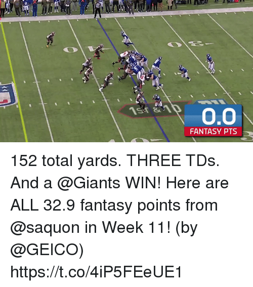 Memes, Giants, and 🤖: FANTASY PTS 152 total yards. THREE TDs. And a @Giants WIN!  Here are ALL 32.9 fantasy points from @saquon in Week 11! (by @GEICO) https://t.co/4iP5FEeUE1