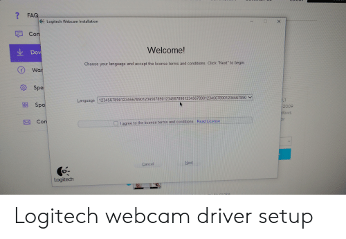 FAQ Logitech Webcam Installation X Con Welcome! Choose Your Language