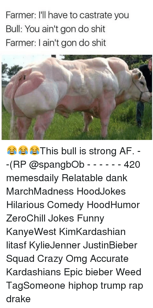 Kardashians, Memes, and Weed: Farmer: I'll have to castrate you  Bull: You ain't gondo shit  Farmer: ain't gon do shit 😂😂😂This bull is strong AF. - -(RP @spangbOb - - - - - - 420 memesdaily Relatable dank MarchMadness HoodJokes Hilarious Comedy HoodHumor ZeroChill Jokes Funny KanyeWest KimKardashian litasf KylieJenner JustinBieber Squad Crazy Omg Accurate Kardashians Epic bieber Weed TagSomeone hiphop trump rap drake