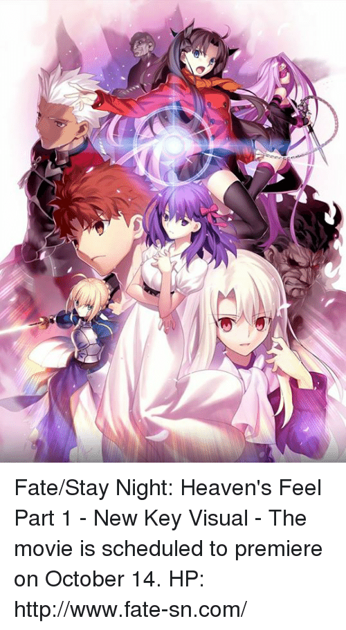 Dank, Http, and Movie: Fate/Stay Night: Heaven's Feel Part 1 - New Key Visual  - The movie is scheduled to premiere on October 14. HP: http://www.fate-sn.com/