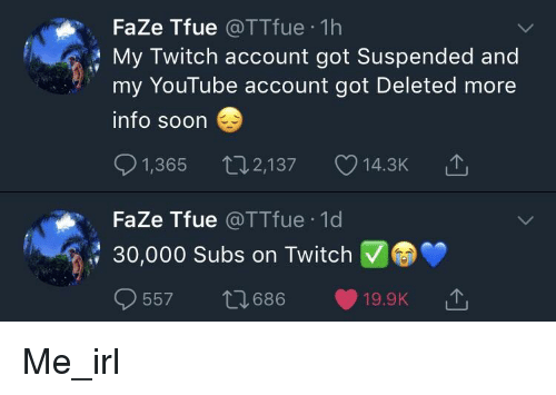 FaZe Tfue 1h My Twitch Account Got Suspended and My YouTube