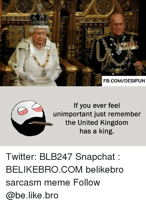 Be Like, Meme, and Memes: FB.COM/DESIFUN  If you ever feel  unimportant just remember  the United Kingdom  has a king. Twitter: BLB247 Snapchat : BELIKEBRO.COM belikebro sarcasm meme Follow @be.like.bro