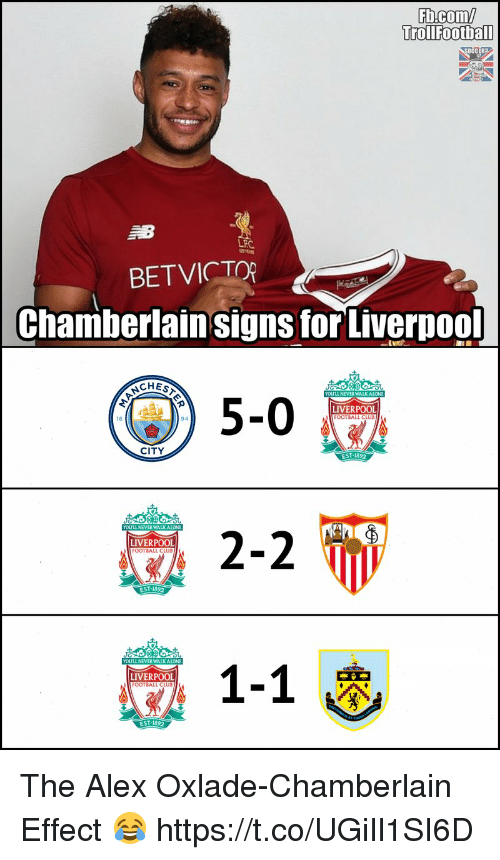 Club, Football, and Memes: Fb.com/  Trollfootbal  OCCER2  LFC  BETVICTO  Chamberlain signs forLiverpool  CHES  YOLULL NEVER WALKAION  5-0  LIVERPOOL  FOOTBALL CLUB  8  94  CITY  EST:1892  YOULL NEVER WALKAIONE  LIVERPOOL  LIVERPOOL  EST-1892 The Alex Oxlade-Chamberlain Effect 😂 https://t.co/UGiIl1SI6D