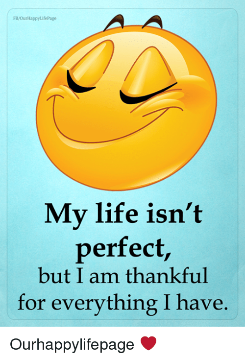 FBOurHappyLifePage My Life Isn't Perfect but I Am Thankful