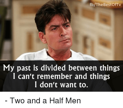 Memes, Two and a Half Men, and Bestof: fb/The Bestof TV  My past is divided between things  I can't remember and things  I don't want to. - Two and a Half Men