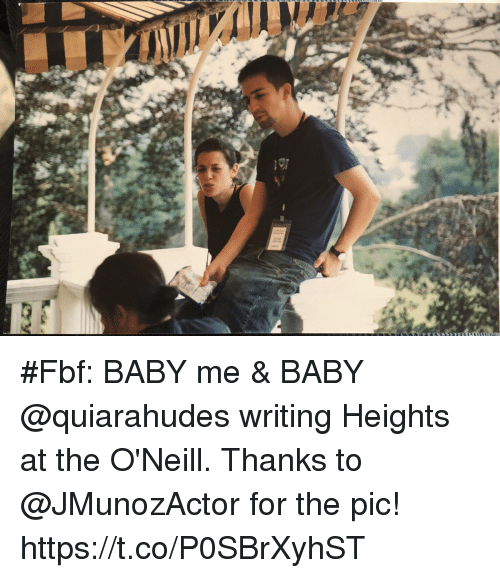 Memes, Baby, and 🤖: #Fbf: BABY me & BABY @quiarahudes writing Heights at the O'Neill. Thanks to @JMunozActor for the pic! https://t.co/P0SBrXyhST