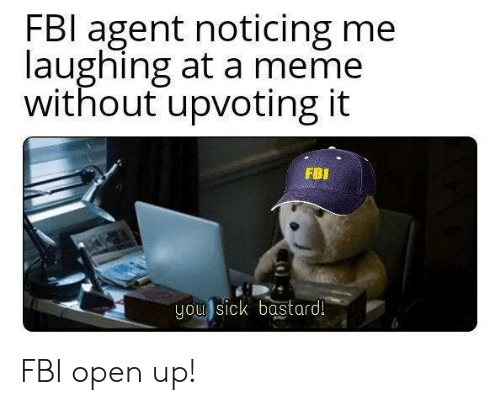 FBI Agent Noticing Me Laughing at a Meme Without Upvoting It FBI You