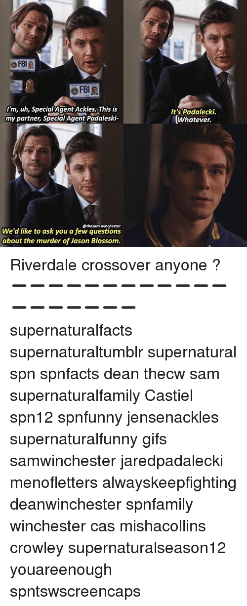 Memes, Gifs, and Supernatural: FBIO  oFBIR.  I'm, uh, Special Agent Ackles. This is  my partner, Special Agent Padaleski  @the sam winchester  We'd like to ask you a few questions  about the murder of Jason Blossom.  It's Padalecki.  Whatever. Riverdale crossover anyone ? ➖➖➖➖➖➖➖➖➖➖➖➖➖➖➖➖➖➖➖ supernaturalfacts supernaturaltumblr supernatural spn spnfacts dean thecw sam supernaturalfamily Castiel spn12 spnfunny jensenackles supernaturalfunny gifs samwinchester jaredpadalecki menofletters alwayskeepfighting deanwinchester spnfamily winchester cas mishacollins crowley supernaturalseason12 youareenough spntswscreencaps