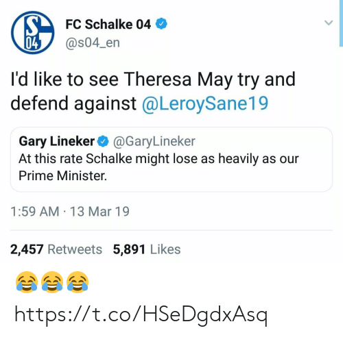 Soccer, Mar, and May: FC Schalke 04  @s04_en  04  I'd like to see Theresa May try and  defend against @LeroySane19  Gary Lineker@GaryLineker  At this rate Schalke might lose as heavily as our  Prime Minister.  1:59 AM 13 Mar 19  2,457 Retweets 5,891 Likes 😂😂😂 https://t.co/HSeDgdxAsq