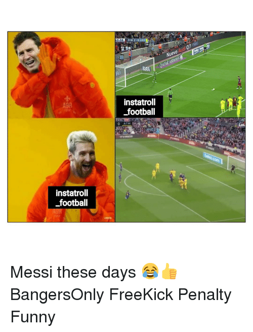 Football, Funny, and Memes: ,  FCB2-0 LEVI  -  Nuevo Audi 07 )  QATARAIRWAYS  A9R  instatroll  football  instatroll  footbal Messi these days 😂👍 BangersOnly FreeKick Penalty Funny