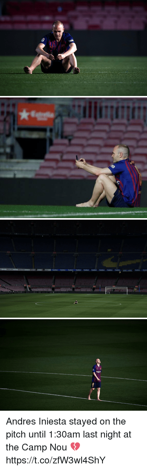 Memes, Andres Iniesta, and 🤖: FCBARCELONA.COM  FCBARCELONA.COM  FCBARCELONA.COM  FCBARCELONA.COM  FCBARCELONA.COM  enRakuten  eR kuten  beko beko beko beko beko beko beko beko beko beko beko beko bek  BRakuten  @Rakut   Rautn Andres Iniesta stayed on the pitch until 1:30am last night at the Camp Nou 💔 https://t.co/zfW3wl4ShY
