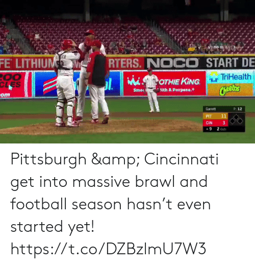 Football, Nfl, and Sports: FE LITHIUNM  RTERS. NOCO START DE  TriHealth  00  CLES  OTHIE KING  Cheelas  Smo  lith A Purpose.  -om  P: 12  Garrett  11  PIT  3  CIN  9  2 Outs Pittsburgh & Cincinnati get into massive brawl and football season hasn't even started yet! https://t.co/DZBzlmU7W3